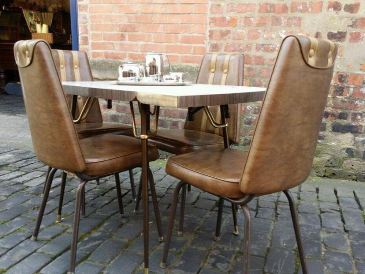 Vintage and rare four seater drop leaf dining table set