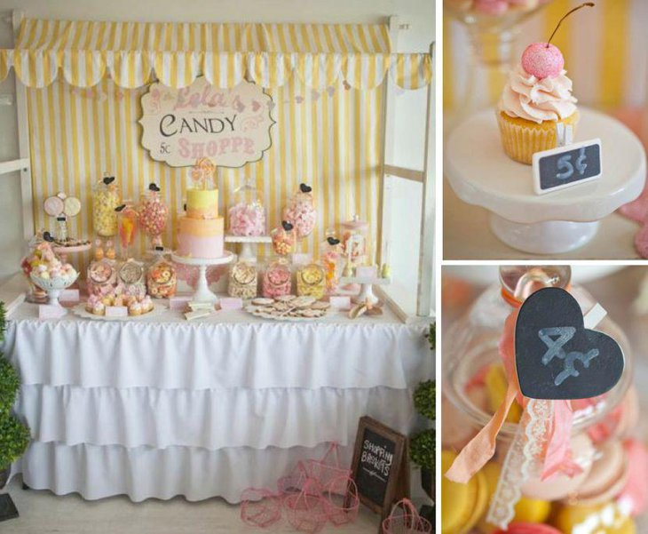 Vintage birthday candy table decor for kids