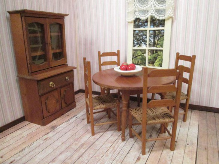 Vintage drop leaf roundel dining table set with four chairs