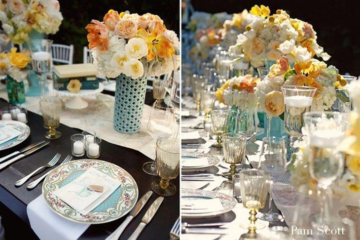 Vintage garden party table decor with vases