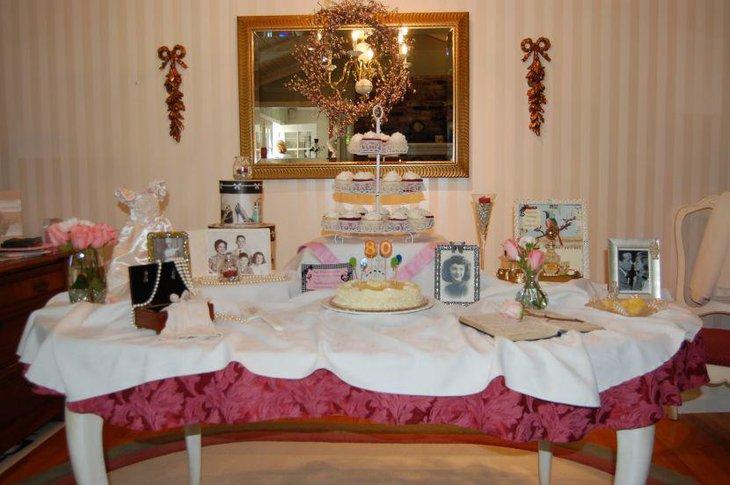 Vintage Grandmas 80th Birthday Cake Table Decor