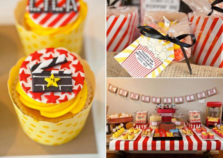 Vintage Hollywood themed table decor with yellow accented cupcakes
