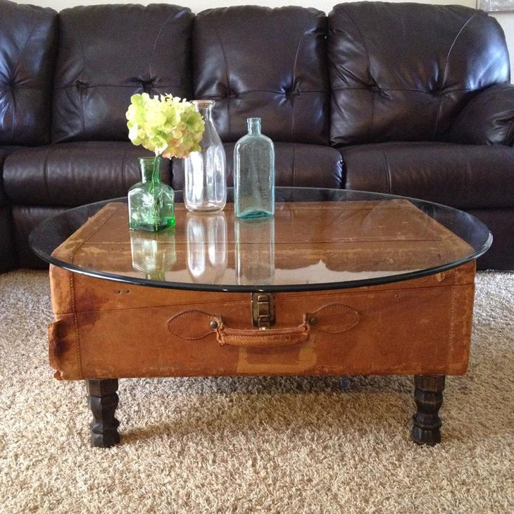 Antique Round Leather Top Coffee Table: 33 Antique DIY Coffee Table Ideas