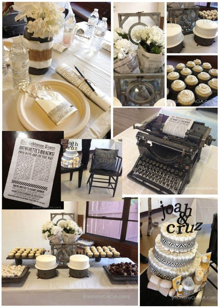 Vintage newspaper themed twin baby shower table
