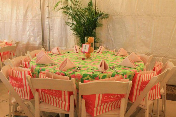 Vintage pink and green 80th birthday table decor