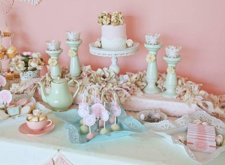 Vintage tea party birthday table decor