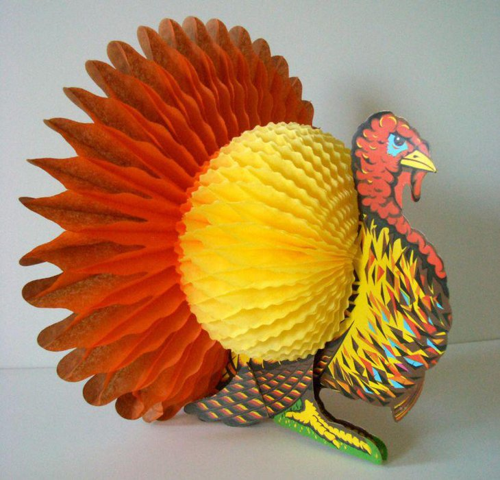 Vintage Turkey Honeycomb Thanksgiving Table Centerpiece