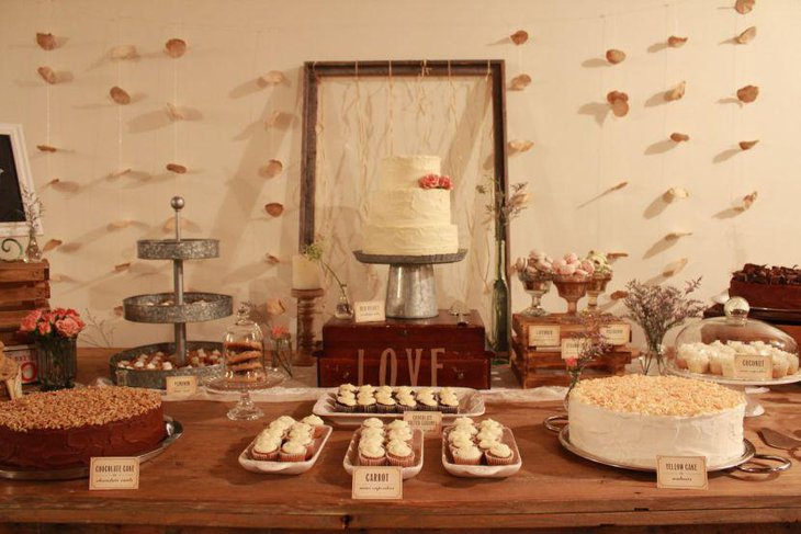 Vintage wedding dessert table decor with white cake and pastel accents