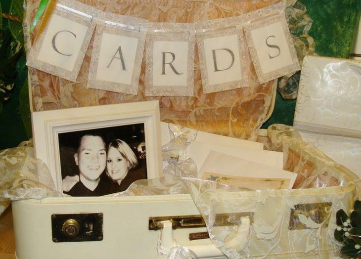 Vintage wedding table decor with suitcase card holder