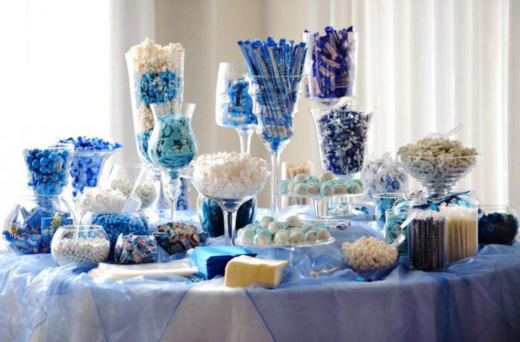 Wedding candy table with blue decor