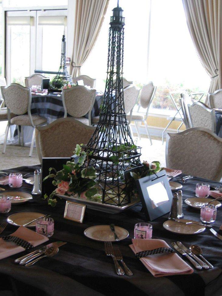 Wedding Table Decor With A Big Eiffel Tower Centerpiece