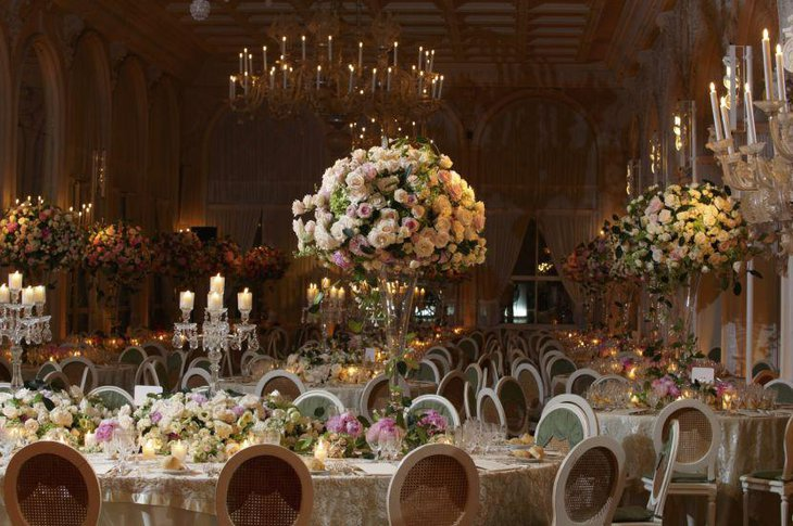 Wedding table decor with crystal candle holders and flower arrengment