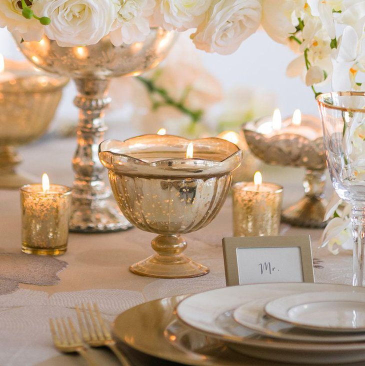 Wedding table decor with gold mercury candle containers 1