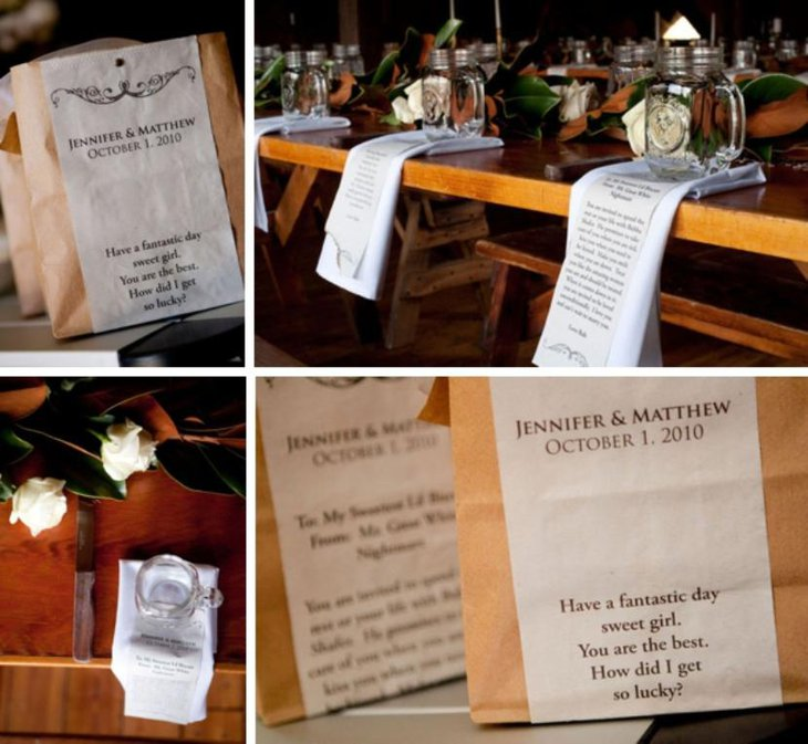 wedding table decor with love words