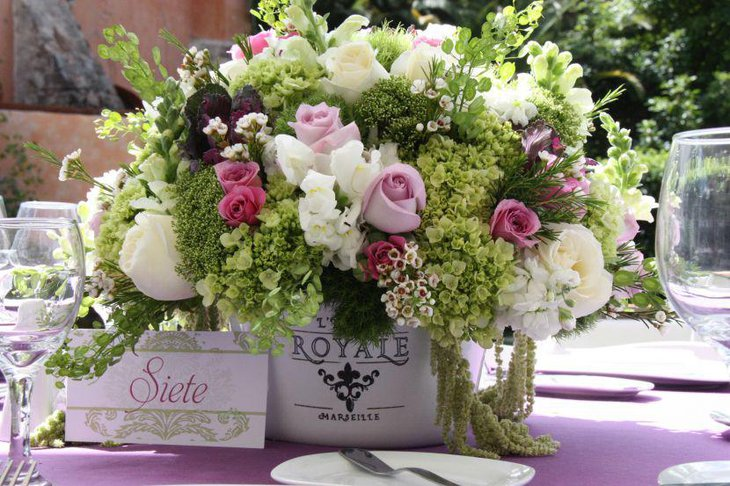 Wedding table floral vintage tin centerpiece