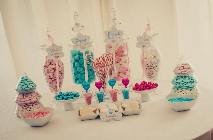 weet blue Christmas candy table