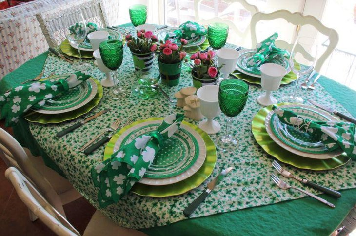 Whimsical green table setting for St Patricks Day