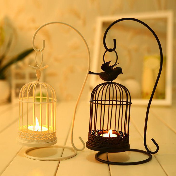 White and black candle birdcage table decor for wedding