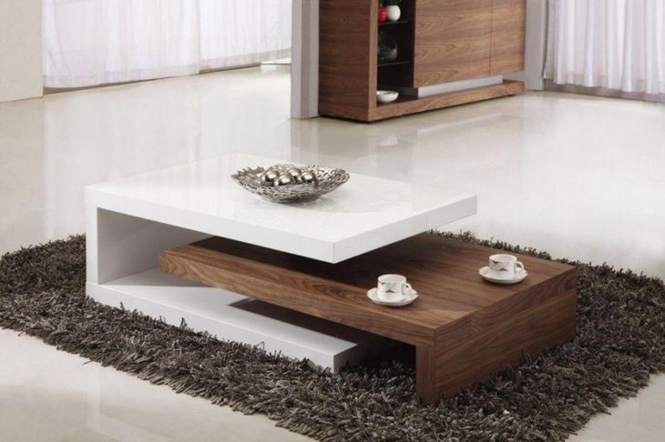 White and brown coffee table decor with silver decoration