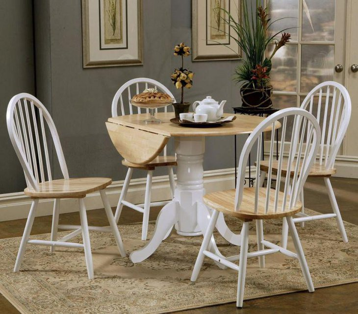 White and brown drop leaf dining table set with thick stand