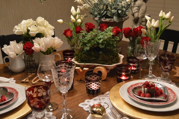White And Red Roses Used For Elegant Decoration