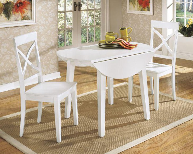 White antique drop leaf dining table set