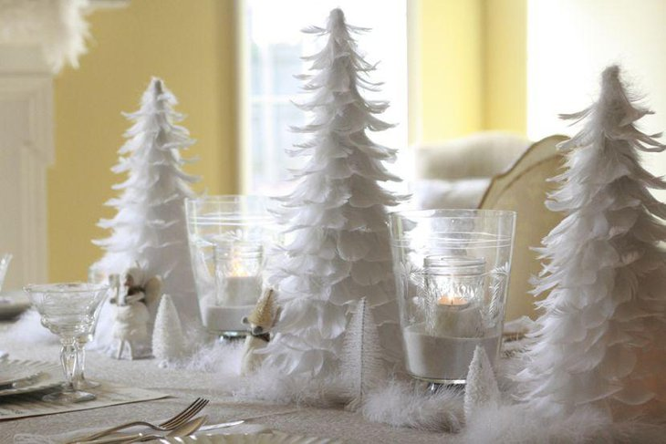 White Christmas Table Decor With Feathered Christmas Tree Centerpieces