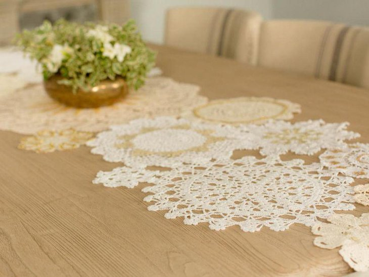 White cutout lace table runner for Thanksgiving
