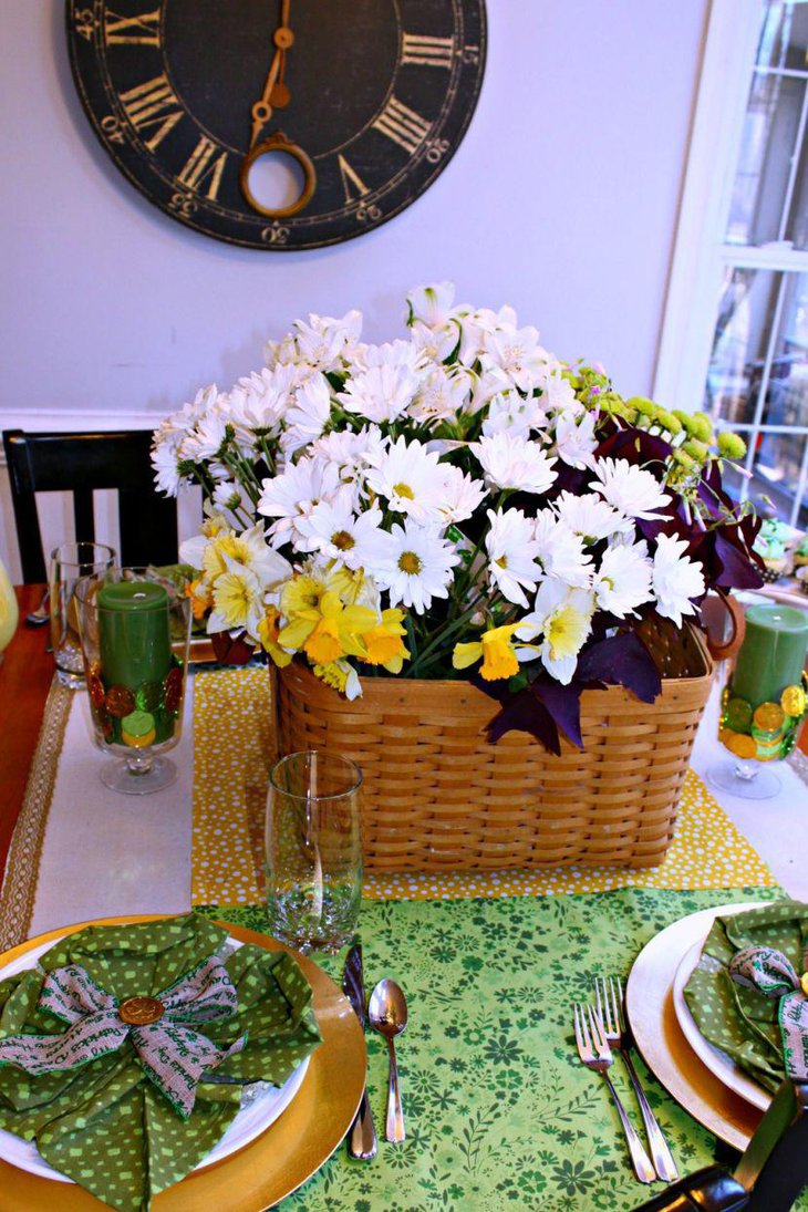 White flowers in wicker basket for St Patricks Day table decor