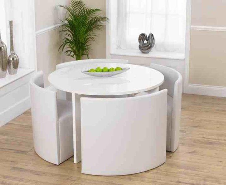 White Glossy Expandable Dining Table For Small Area