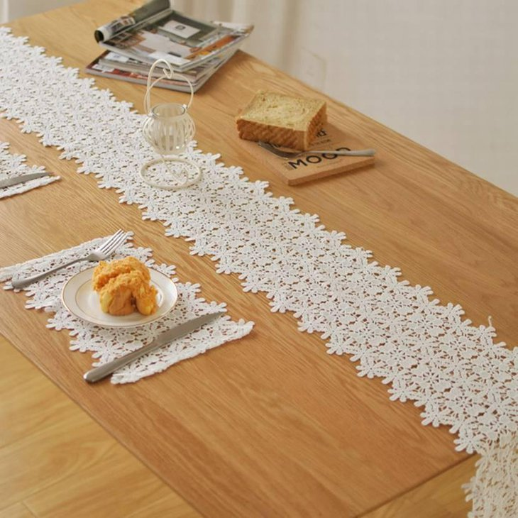 White Lace Table Runner for Thanksgiving