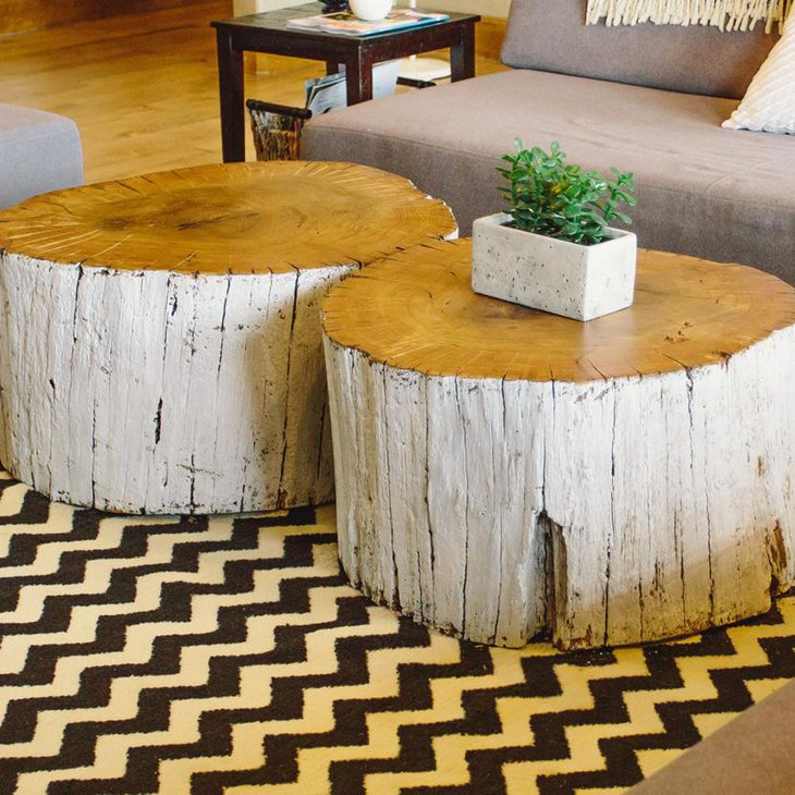 white painted wooden log diy coffee table 730 Coffee Table Trunks Coffee Table Reclaimed Tree Trunk Coffee Table Tree Stump Side Table Tree Slab Coffee Table