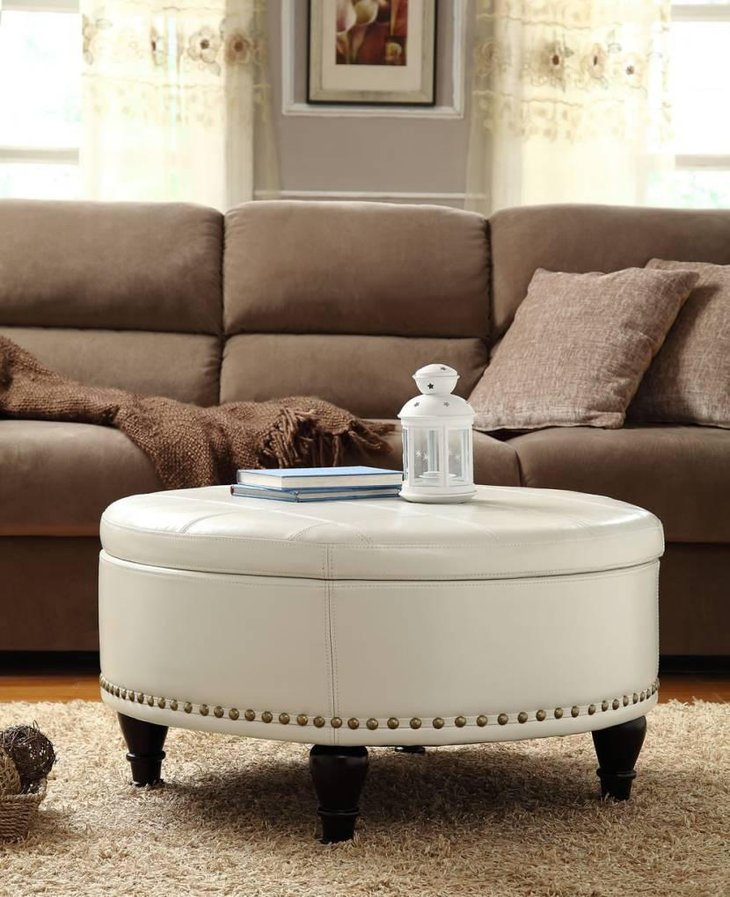 White Round Ottoman Coffee Table For Living Room