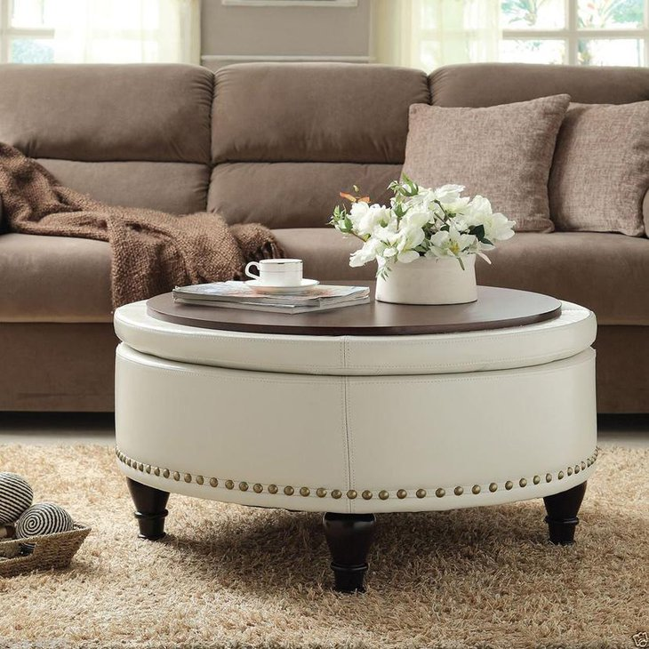 White Round Upholstered DIY Coffee Table