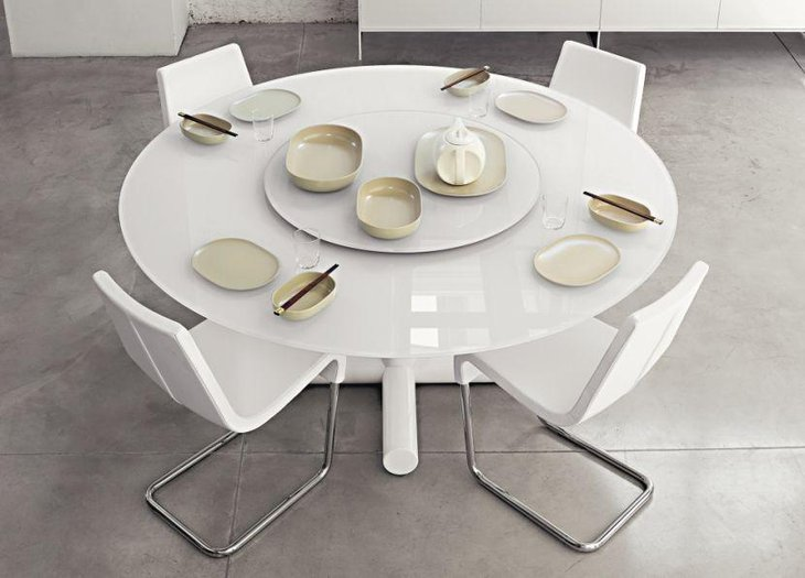 White Roundel Expandable Dining Table
