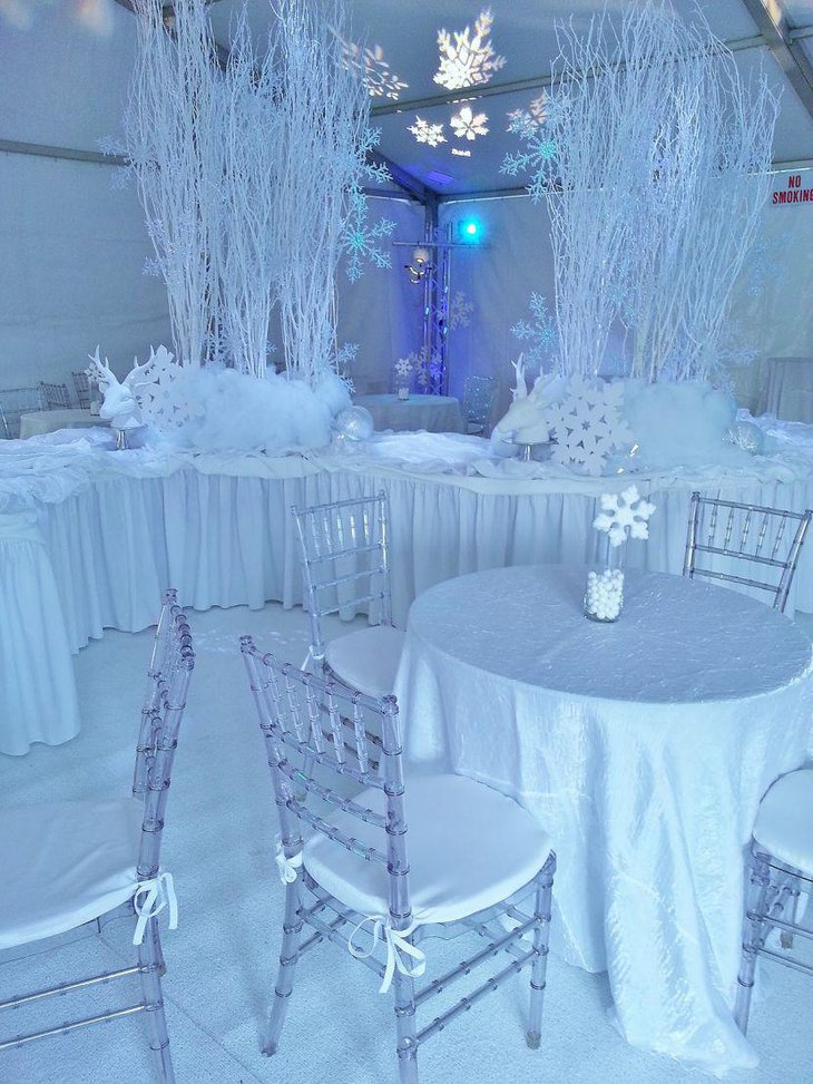 White winter wonderland tables decked up with snowflakes