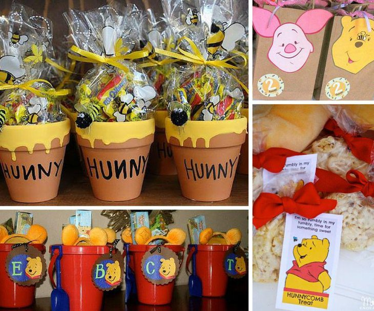 Winnie The Pooh baby shower favors in red and yellow accents