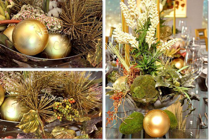 Winter table decor with Christmas balls and natural elements