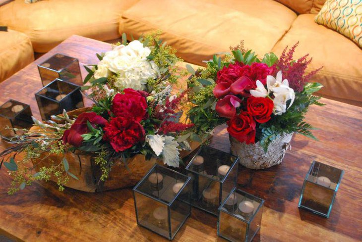 Winter table decor with colourful floral centerpiece