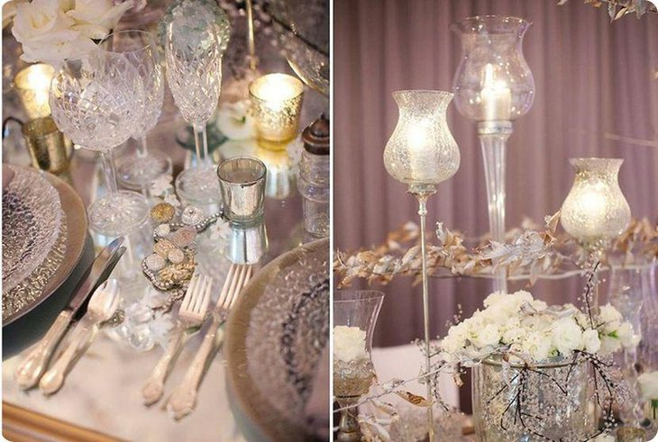Winter wedding table decorations with silver votives and golden leaves