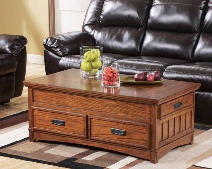 Wooden Chest Coffee Table With Drawers