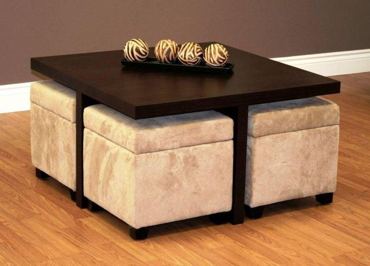 Wooden ottoman coffee table with trendy table centerpiece