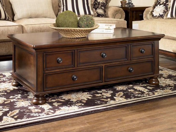 Wooden Polished Storage Coffee Table With 5 Drawers