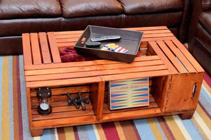 Wooden Wine Crate DIY Coffee Table
