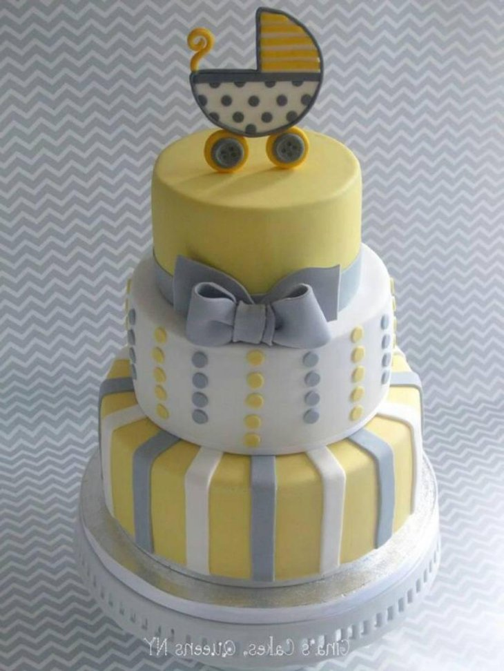 Yellow And Gray Baby Shower Cake With Gray Bow