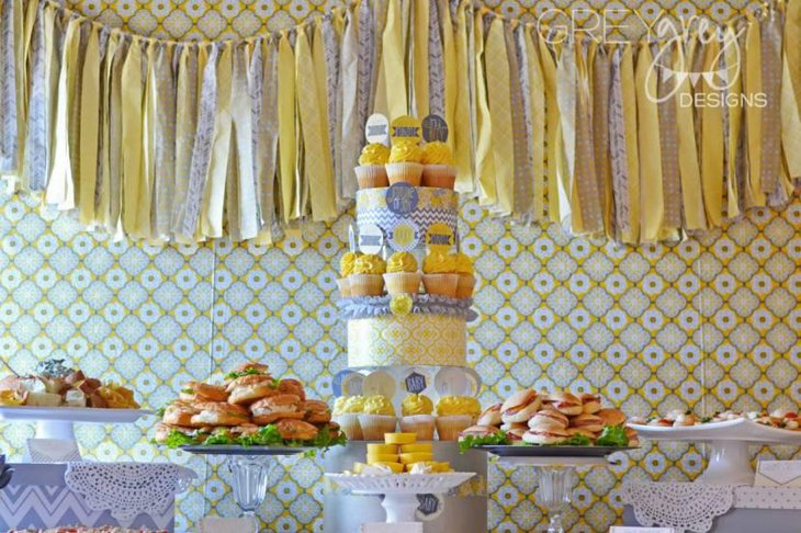 Yellow And Gray Baby Shower Food Table