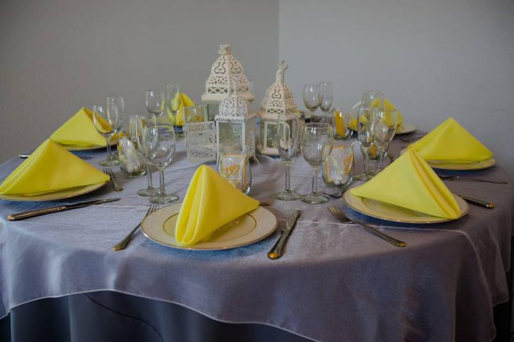 Yellow And Gray Table Setting