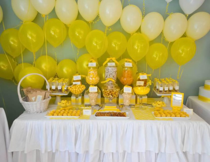 Yellow Ballon Backdrop And Yellow Candies for Dessert Table