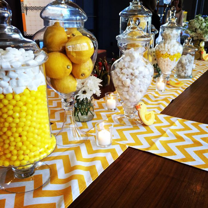 Yellow Chevron Table Runners with Lemon Centerpieces