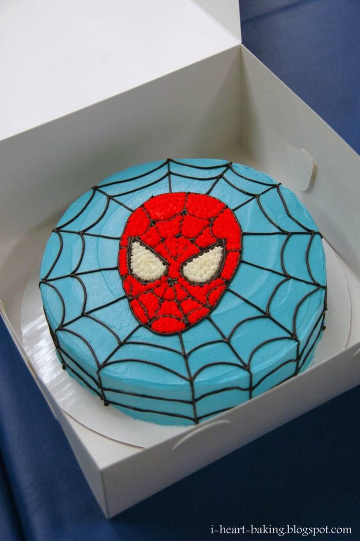 Yummy Blue Cake With Spiderman Face